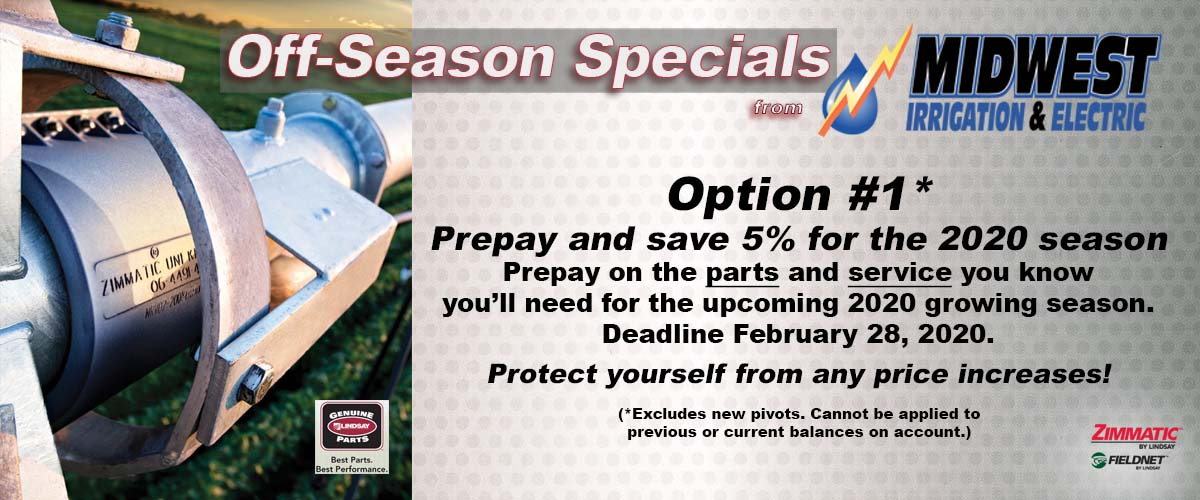 Midwest Irrigation and Electric's Off-Season Specials